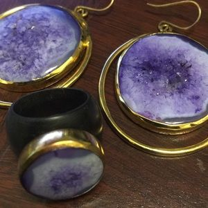Isharya ebony purple crater druzy ring/earrings